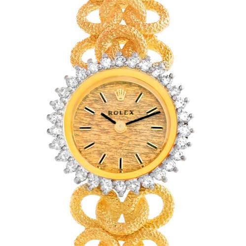 Photo of Rolex 14k Yellow Gold Diamond Vintage Ladies Cocktail Watch 8312