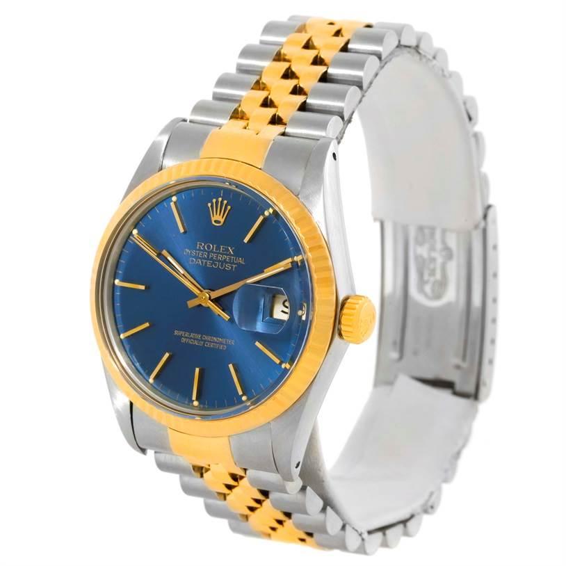 3f1648d27d8 ... 10102 Rolex Datejust Vintage Mens Steel Yellow Gold Blue Dial Watch  16013 SwissWatchExpo ...