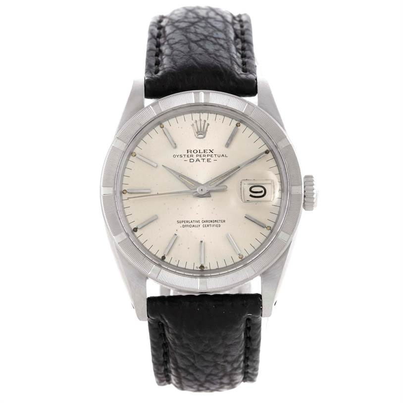 9976 Rolex Date Mens Stainless Steel Vintage Silver Dial Watch 1501 SwissWatchExpo