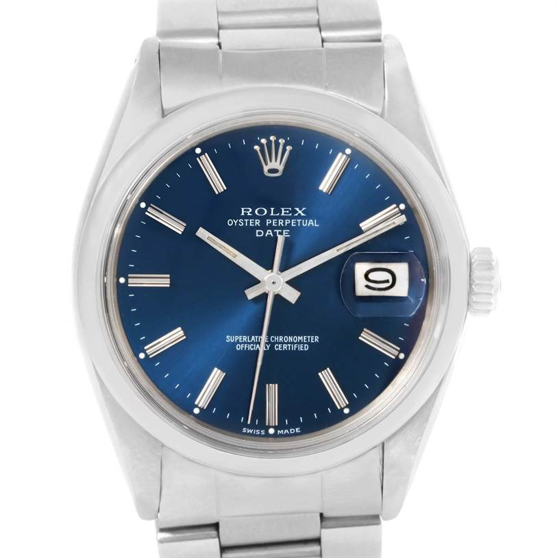 rolex date vintage mens stainless steel blue 1500