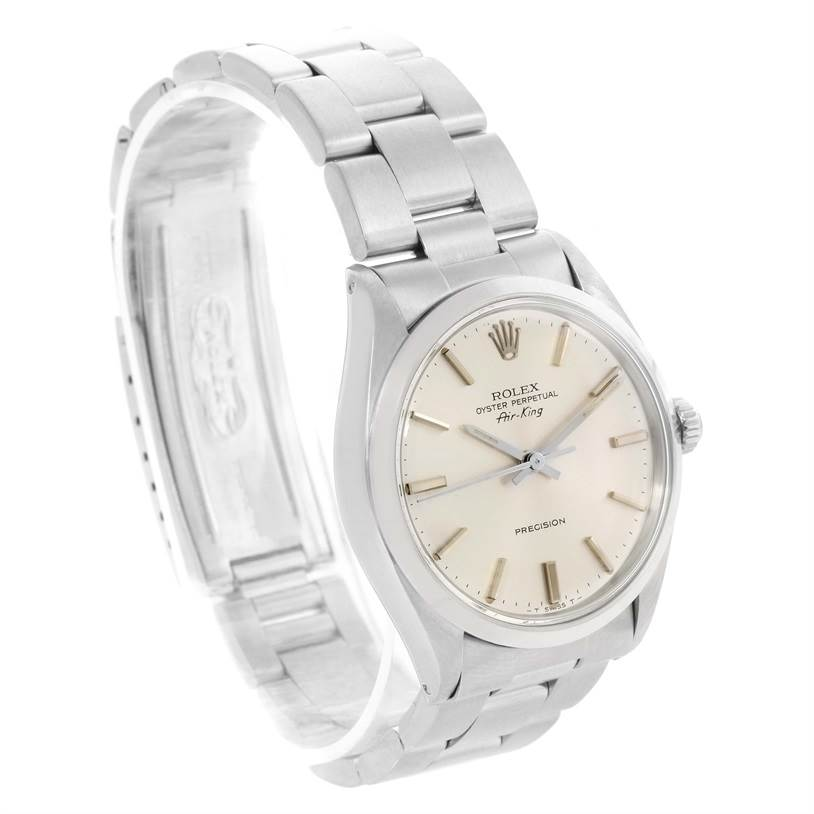 11780 Rolex Air King Vintage Stainless Steel Silver Dial Mens Watch 5500 SwissWatchExpo