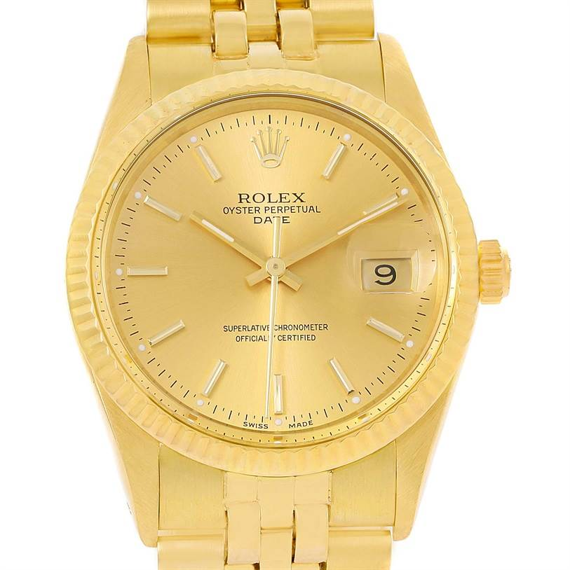rolex date mens 14k yellow gold vintage mens 15037