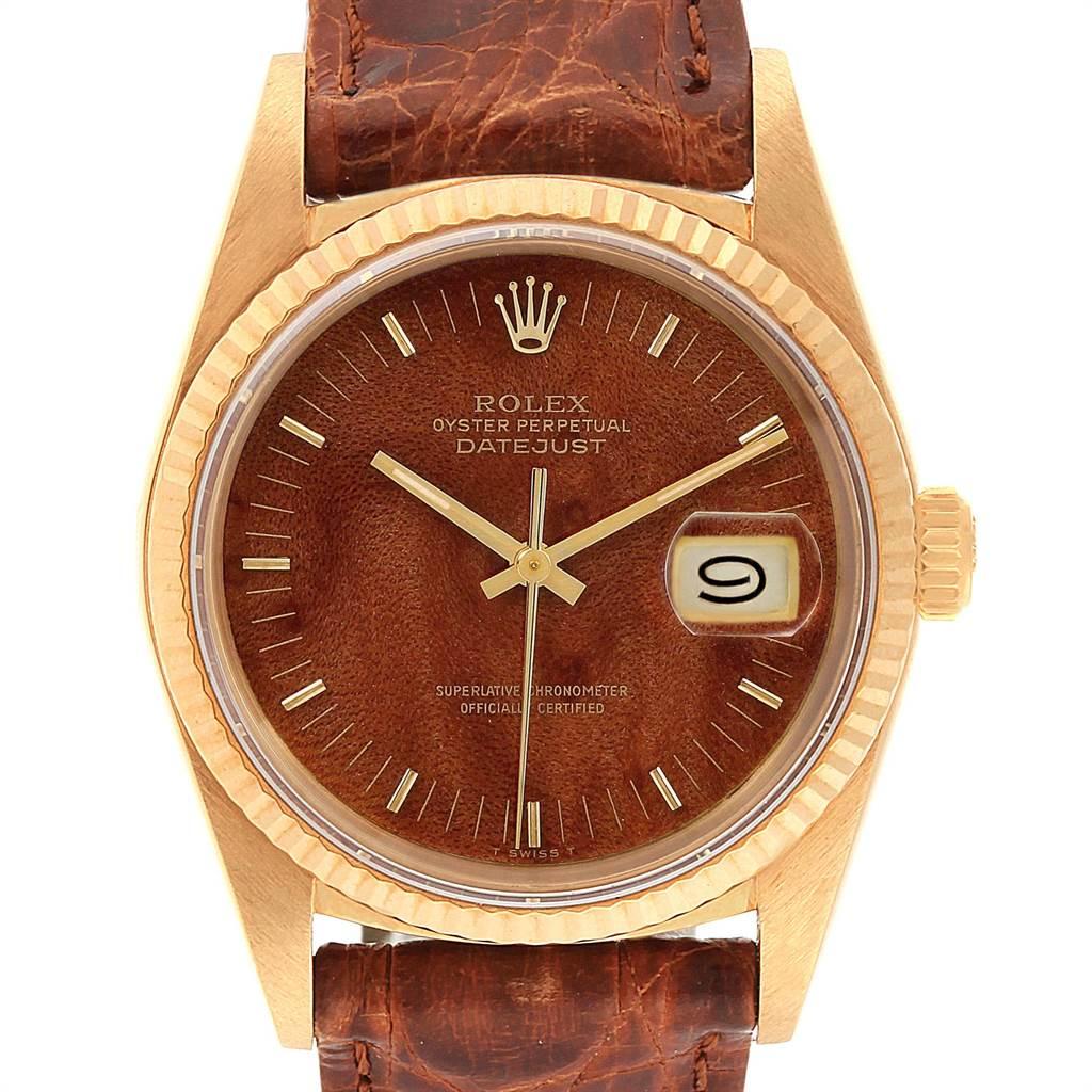Rolex Datejust 18k Yellow Gold Burl Wood Dial Vintage Mens Watch 16018 SwissWatchExpo