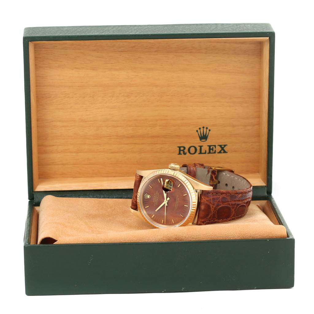 13110 Rolex Datejust 18k Yellow Gold Burl Wood Dial Vintage Mens Watch 16018 SwissWatchExpo