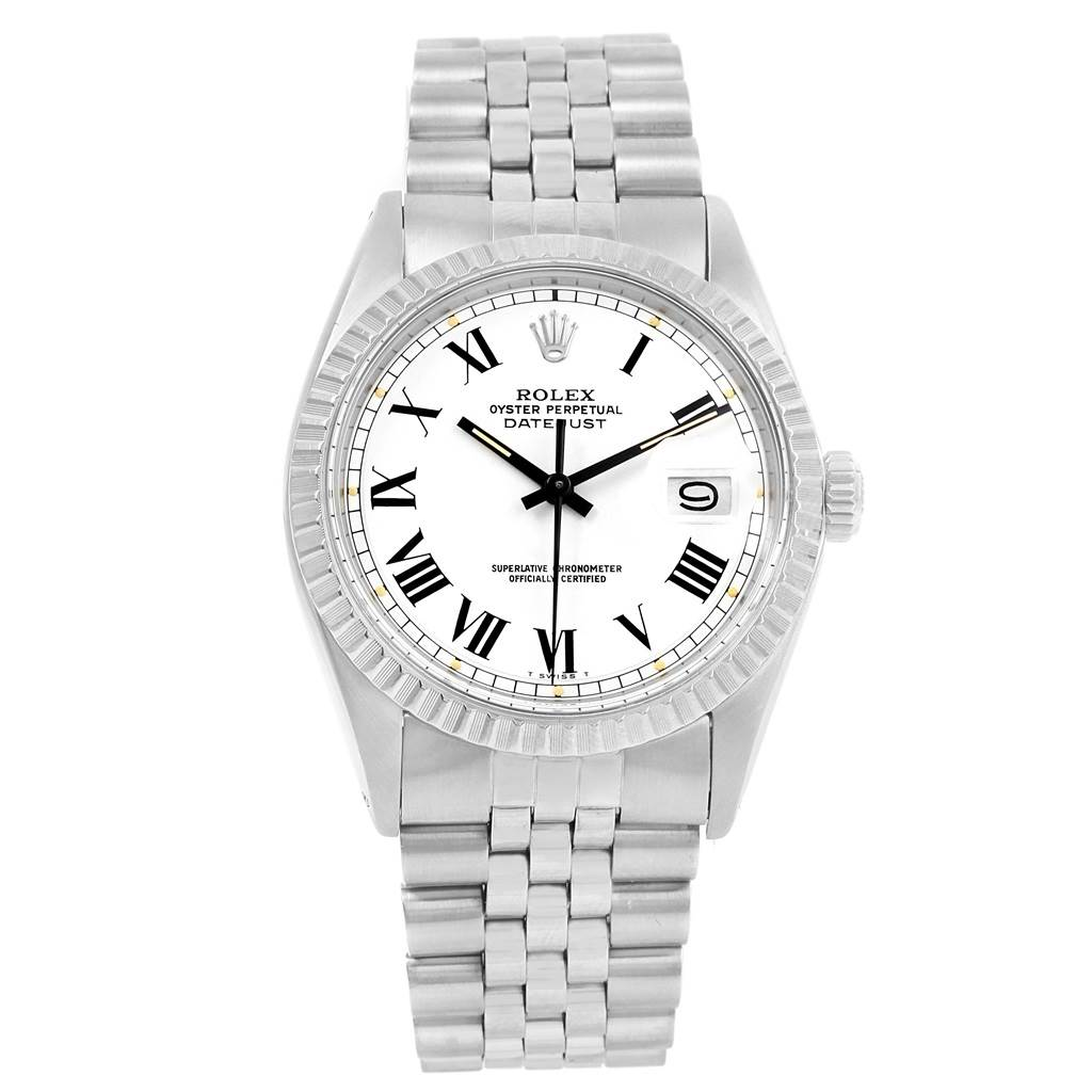 14583 Rolex Datejust White Buckley Dial Steel Vintage Mens Watch 1603 SwissWatchExpo