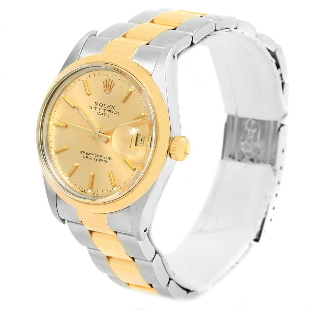 rolex date steel 18k yellow gold vintage mens 15003