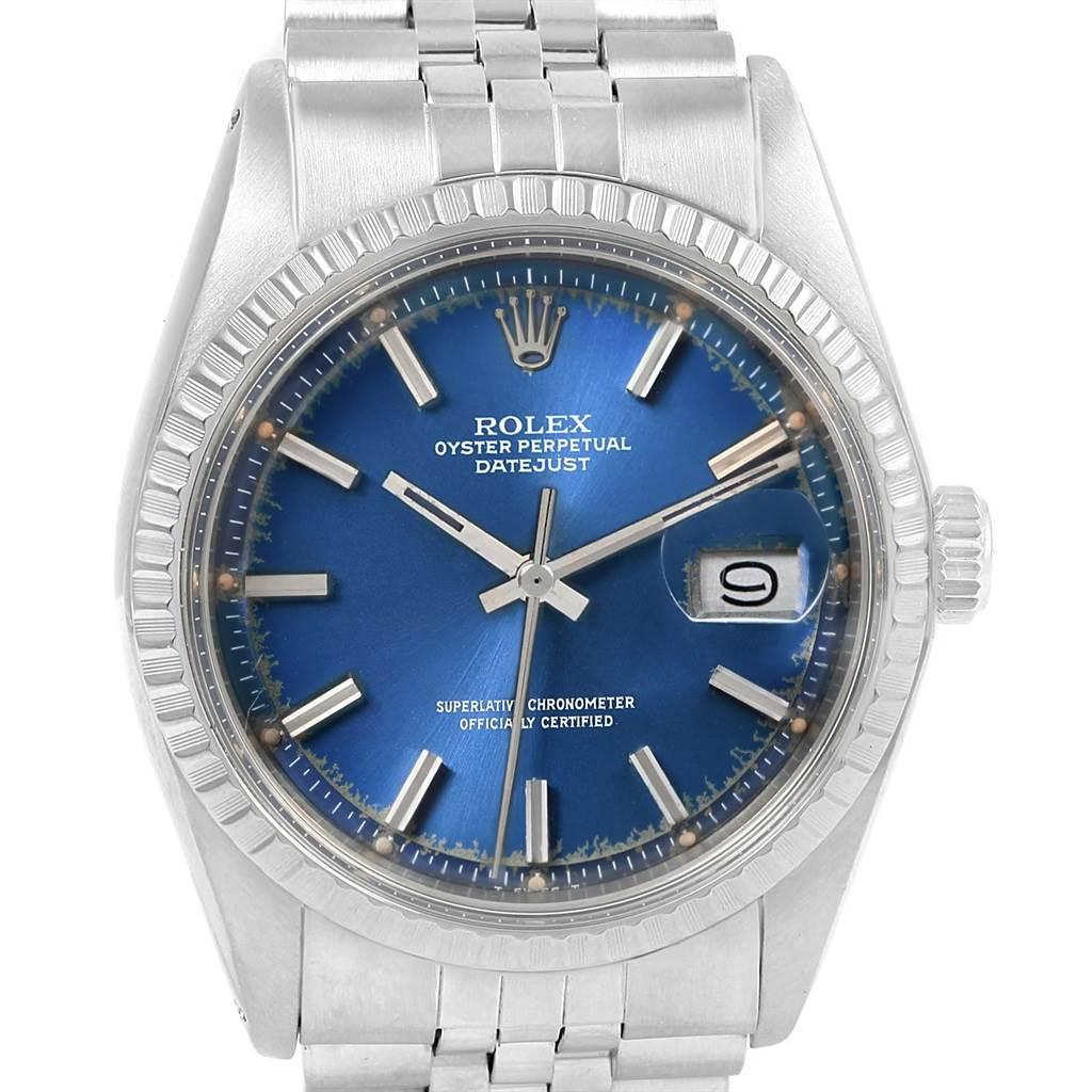 14770 Rolex Datejust Vintage Blue Dial Jubilee Bracelet Steel Mens Watch 1603 SwissWatchExpo
