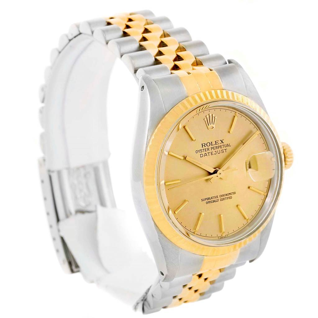 rolex datejust steel yellow gold baton vintage mens