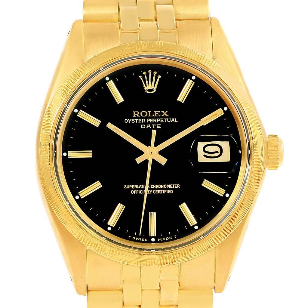 Rolex Date 14k Yellow Gold Black Dial Vintage Mens Watch 1513