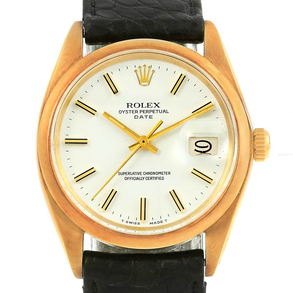 2783c6908f8 ... 15221 Rolex Date 14K Yellow Gold White Dial Vintage Mens Watch 1500  SwissWatchExpo ...