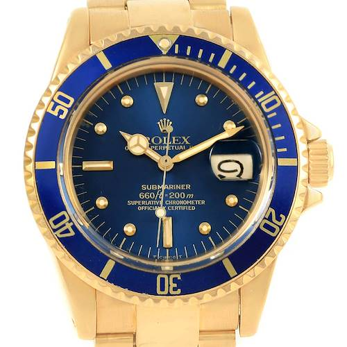 Photo of Rolex Submariner 18K Yellow Gold Blue Dial Vintage Mens Watch 1680