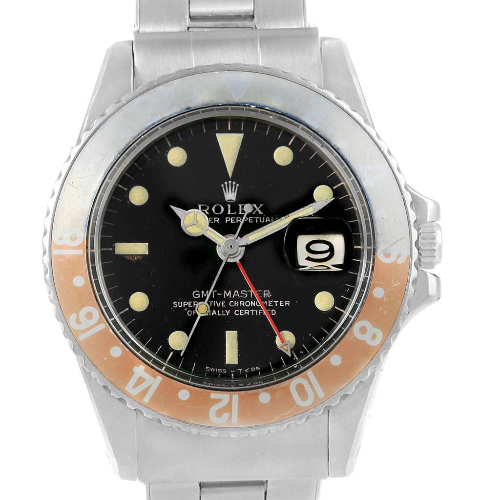 18181 Rolex GMT Master Vintage Gilt Dial Pepsi Bezel Mens Watch 1675 SwissWatchExpo