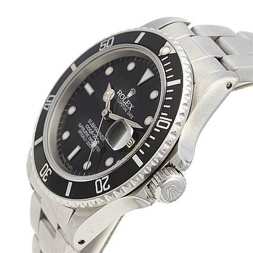 2187 Rolex Submariner Vintage Transitional Steel Watch 16800 SwissWatchExpo