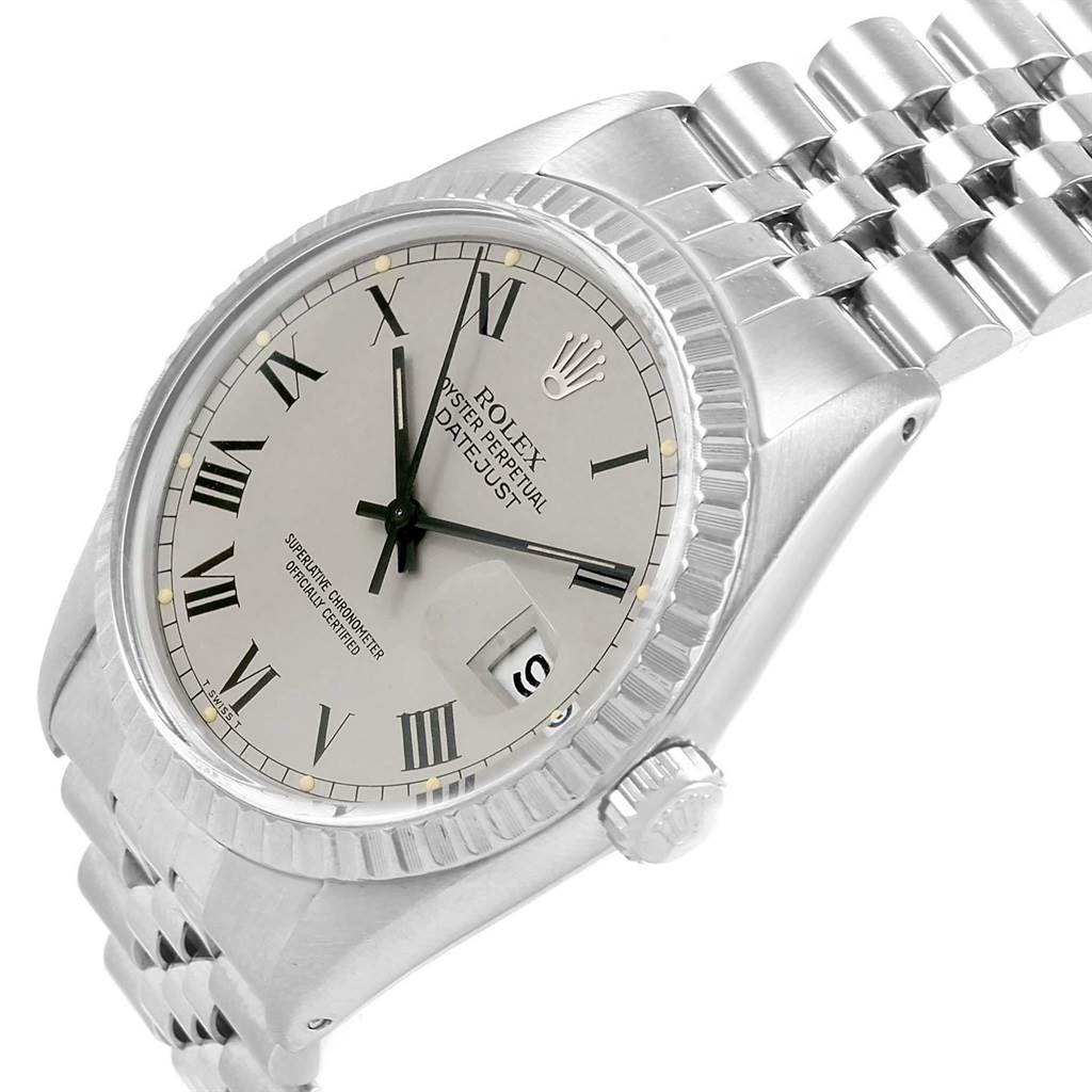 18334 Rolex Datejust Grey Buckley Dial Steel Vintage Mens Watch 16030 SwissWatchExpo