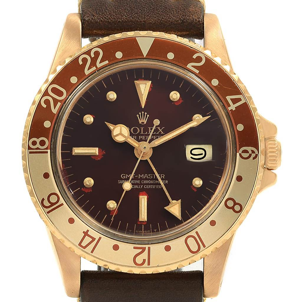 18829X Rolex GMT Master Rootbeer Gold Nipple Dial Vintage Watch 1675 SwissWatchExpo