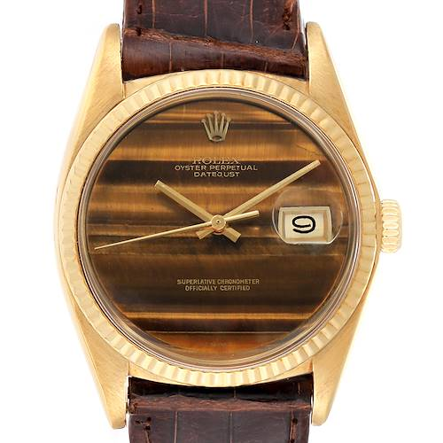Photo of Rolex Datejust 18K Yellow Gold Tiger Eye Dial Vintage Mens Watch 1601