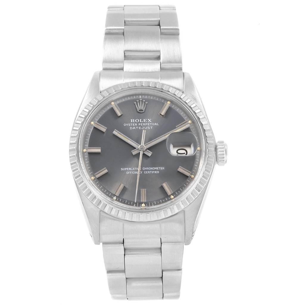 20210 Rolex Datejust Grey Wide Boy Sigma Dial Steel Vintage Mens Watch 1603 SwissWatchExpo