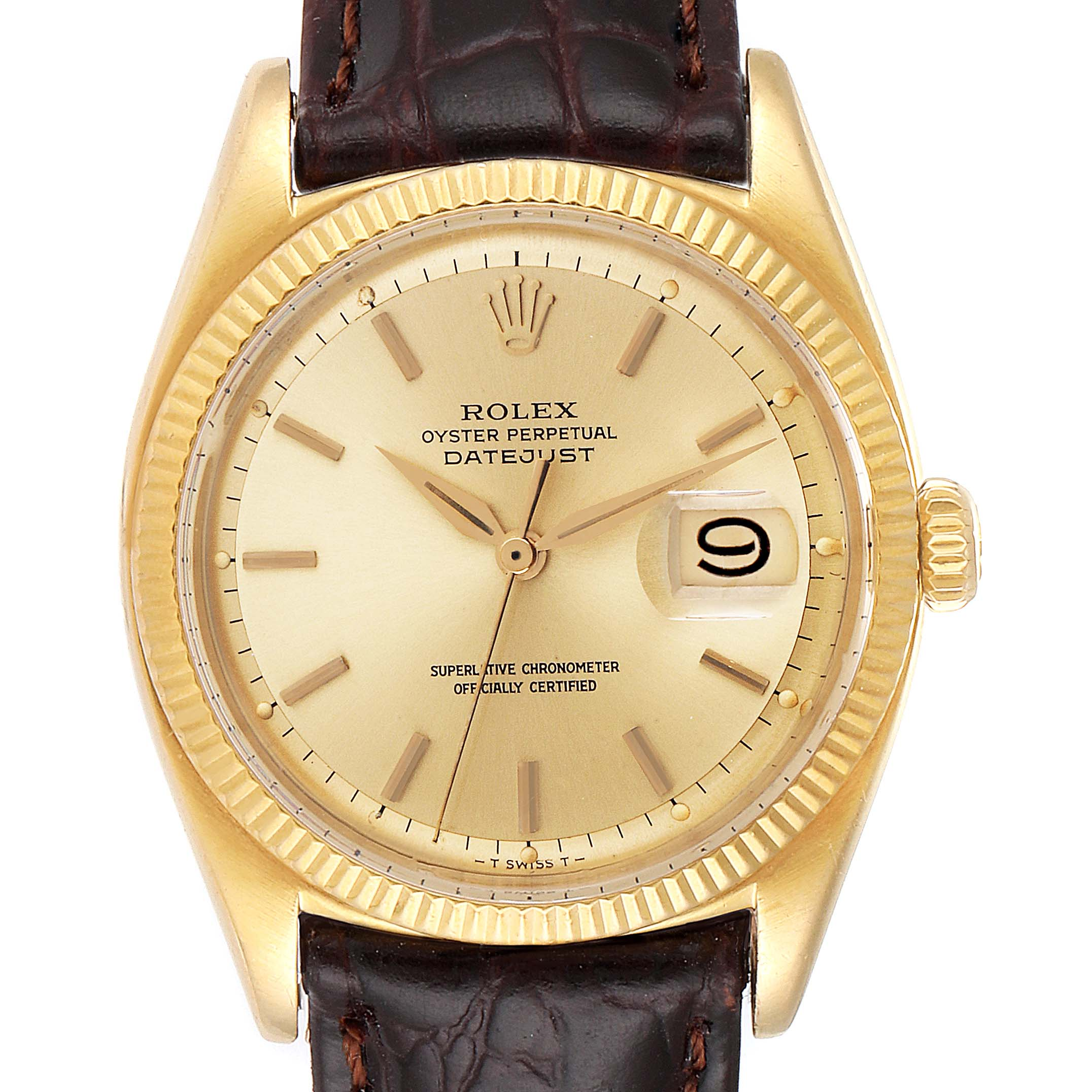 Rolex Datejust Vintage 18K Yellow Gold Brown Strap Mens Watch 6605
