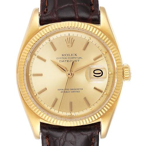 Photo of Rolex Datejust Vintage 18K Yellow Gold Brown Strap Mens Watch 6605