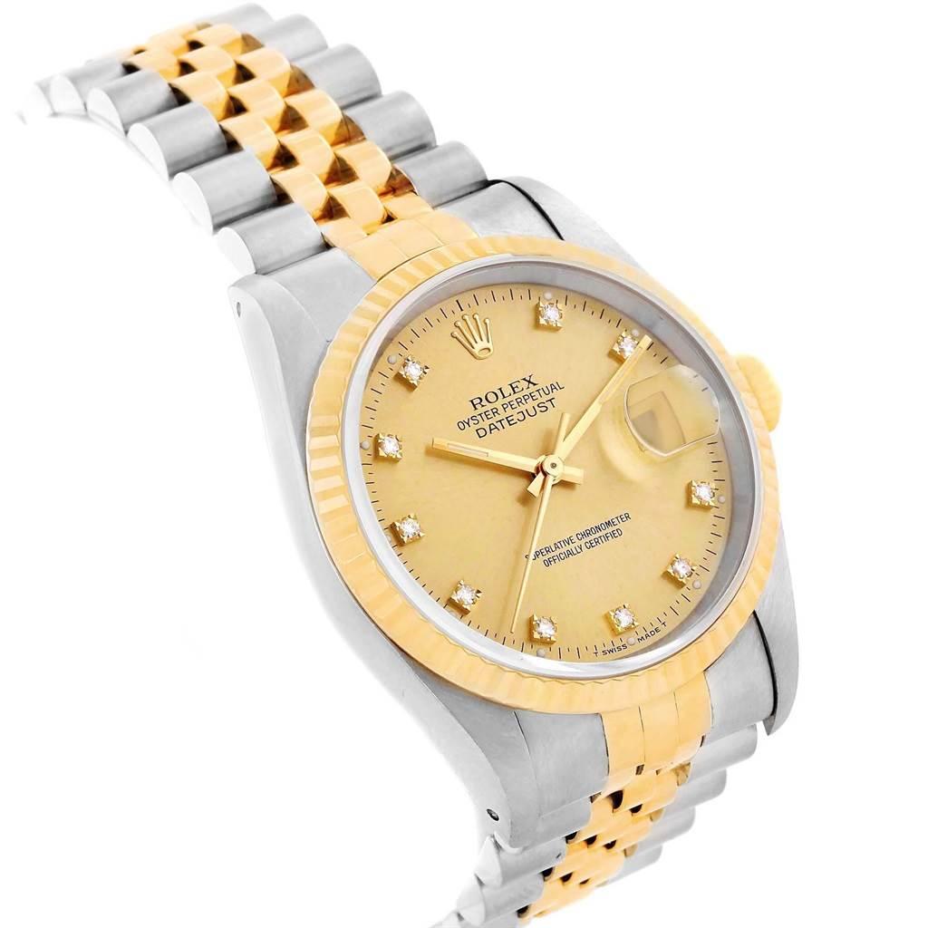 20714 Rolex Datejust 36mm Steel 18K Yellow Gold Diamond Watch 16013 SwissWatchExpo