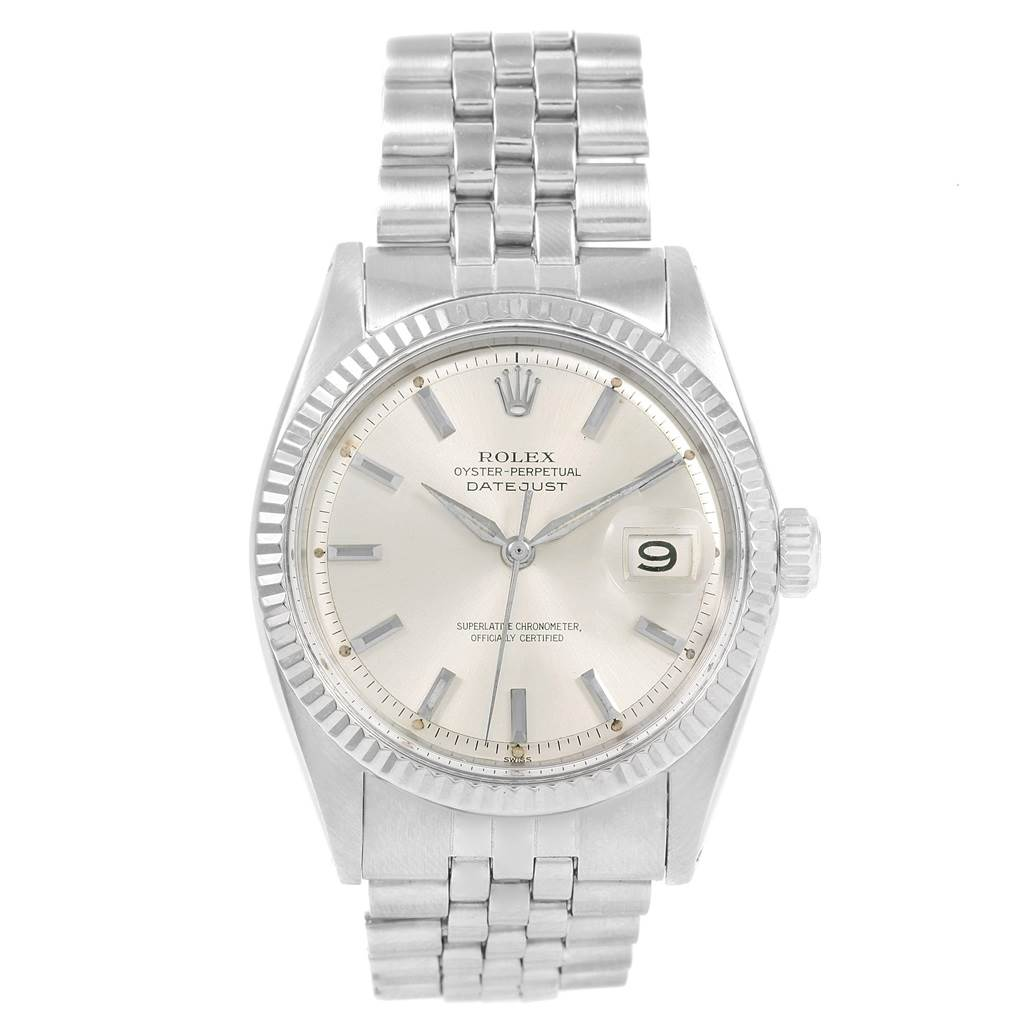 Rolex Datejust Steel 18K White Gold Baton Dial Vintage Mens Watch 1601 SwissWatchExpo
