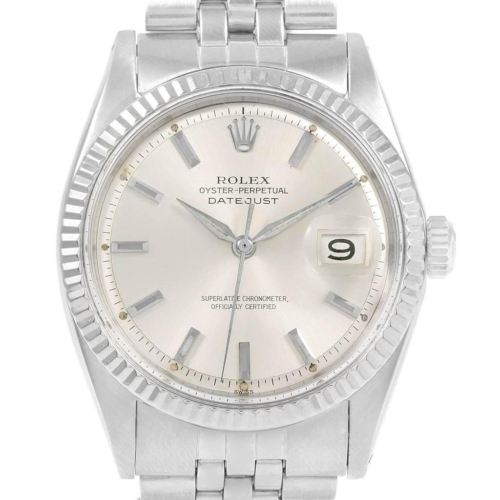 20379 Rolex Datejust Steel 18K White Gold Baton Dial Vintage Mens Watch 1601 SwissWatchExpo