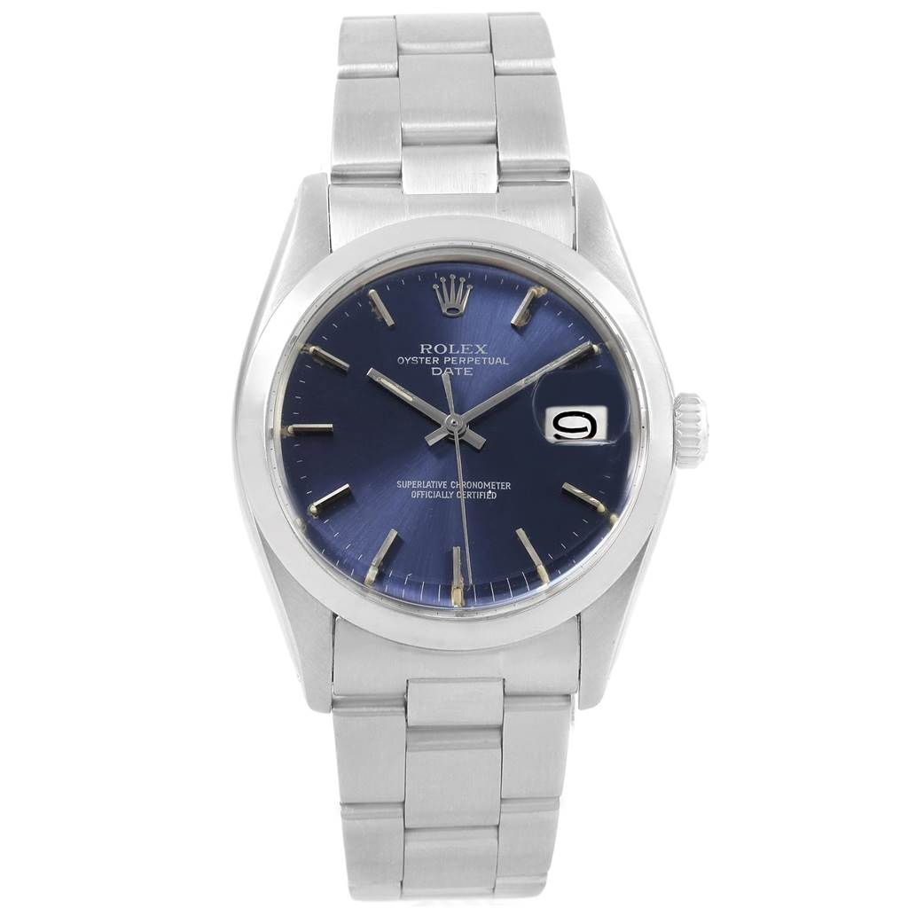 20576 Rolex Date Vintage Blue Dial Stainless Steel Mens Watch 1501 SwissWatchExpo