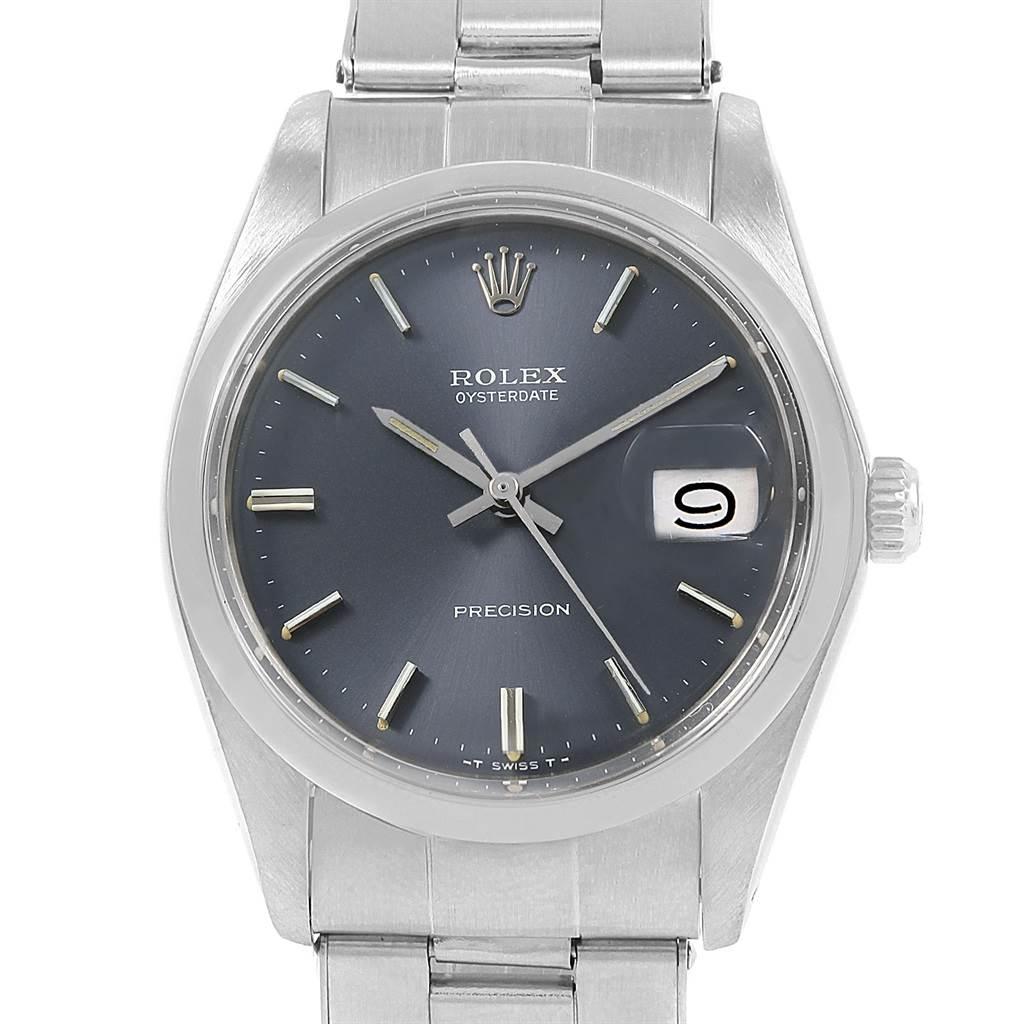 20805 Rolex OysterDate Precision Grey Dial Steel Vintage Mens Watch 6694 SwissWatchExpo