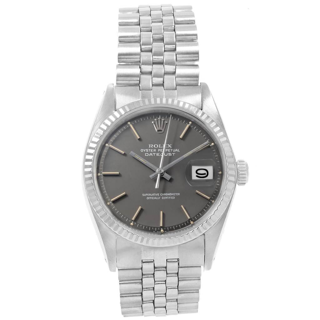 20781 Rolex Datejust Steel White Gold Grey Dial Vintage Mens Watch 1601 SwissWatchExpo