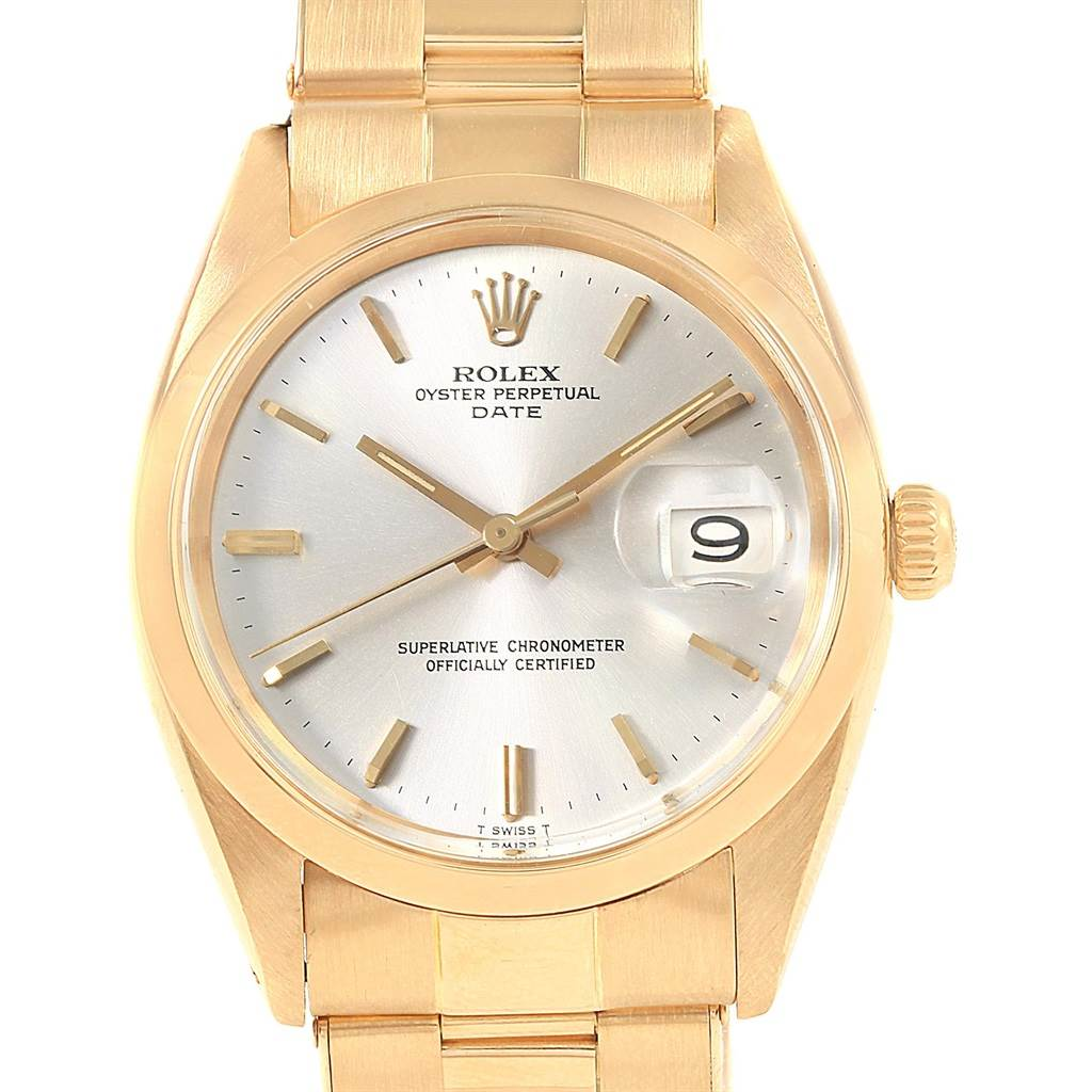 20852 Rolex Date 18k Yellow Gold Oyster Bracelet Vintage Mens Watch 1500 SwissWatchExpo