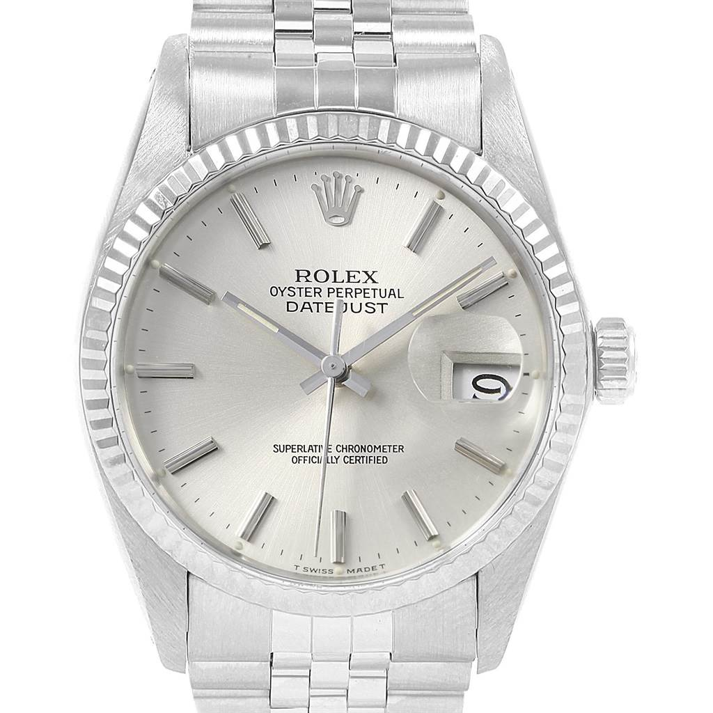 20771 Rolex Datejust Vintage Steel White Gold Silver Dial Mens Watch 16014 SwissWatchExpo