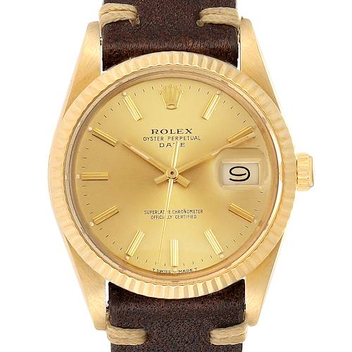 Photo of Rolex Date Mens 14k Yellow Gold Vintage Mens Watch 15037