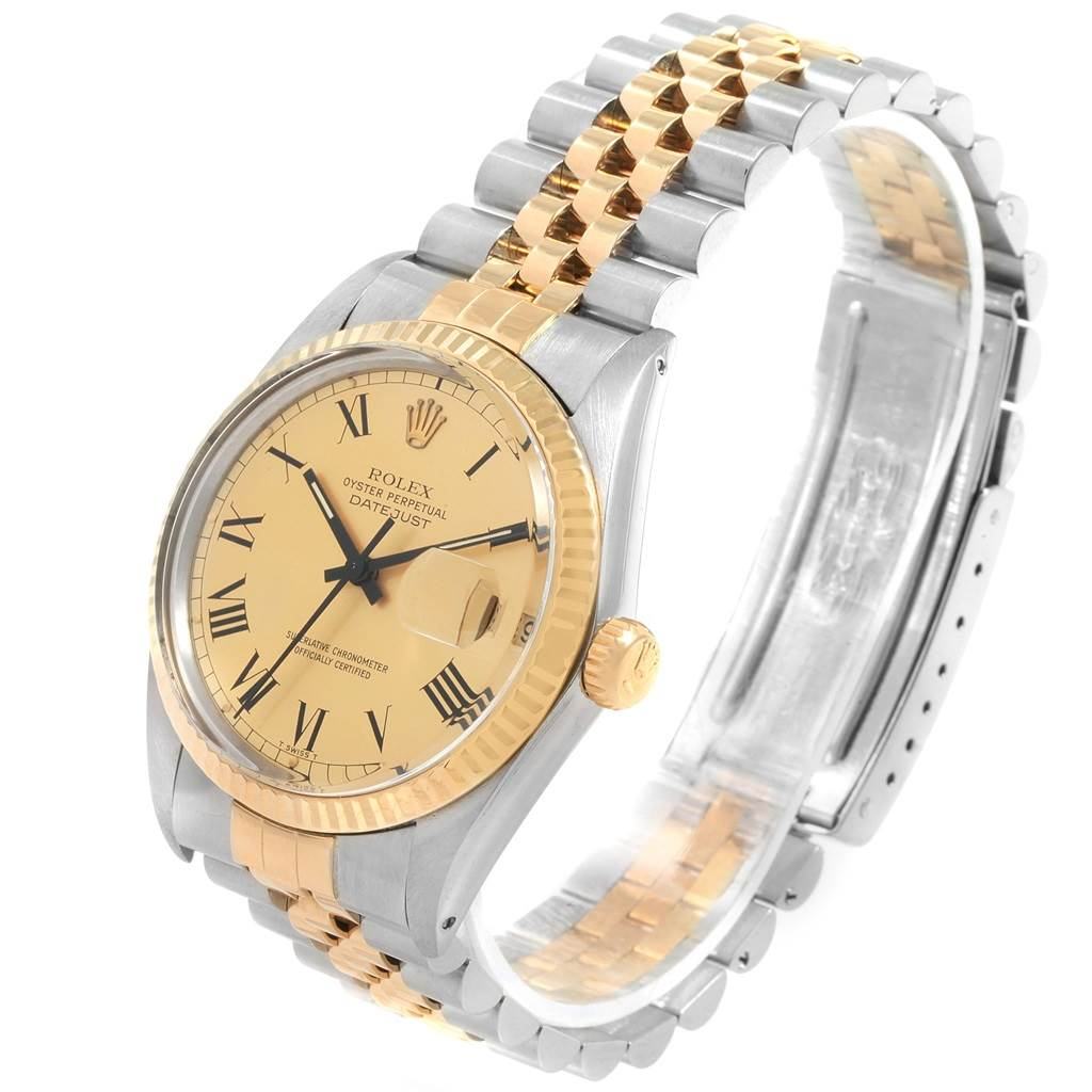 20719 Rolex Datejust Steel Yellow Gold Buckley Dial Vintage Mens Watch 16013 SwissWatchExpo