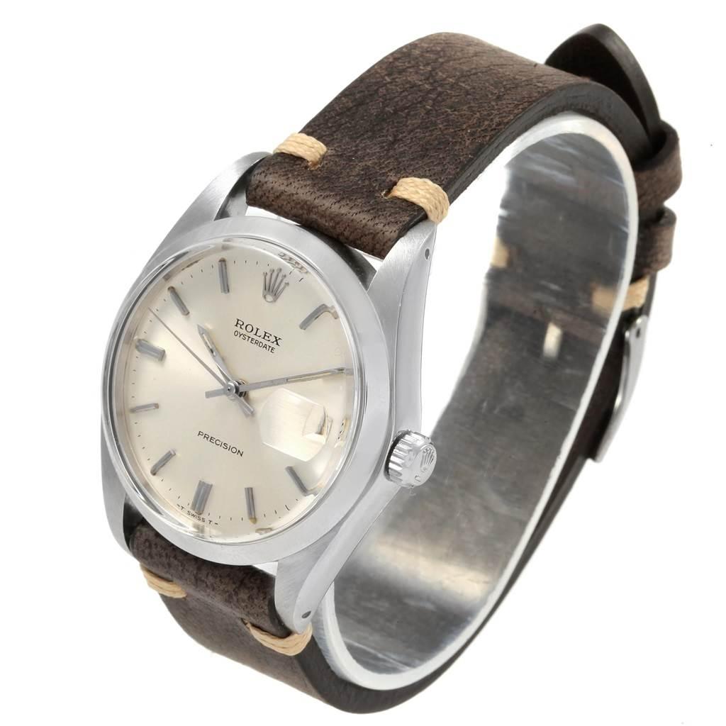 20804 Rolex OysterDate Precision Brown Strap Steel Vintage Mens Watch 6694 SwissWatchExpo