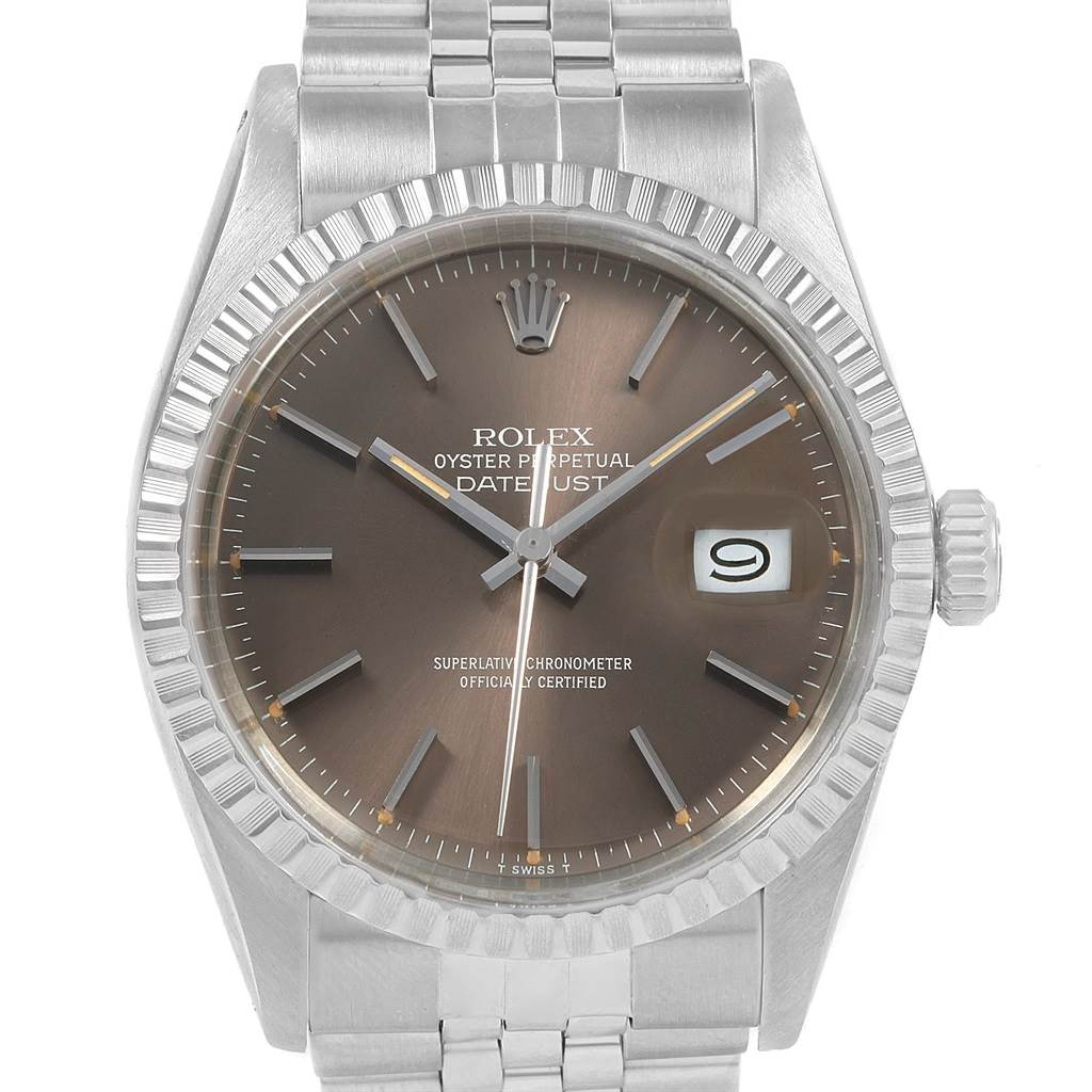 20938 Rolex Datejust 36mm Bronze Dial Steel Vintage Mens Watch 16030 SwissWatchExpo