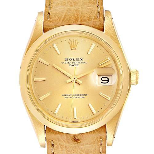Photo of Rolex Date 18K Yellow Gold Brown Strap Vintage Mens Watch 1500