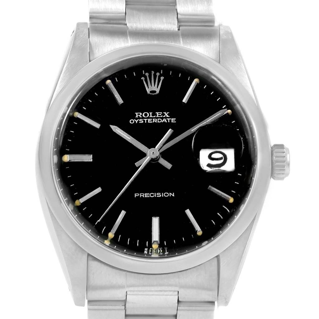 20721X Rolex OysterDate Precision Black Dial Steel Vintage Mens Watch 6694 SwissWatchExpo