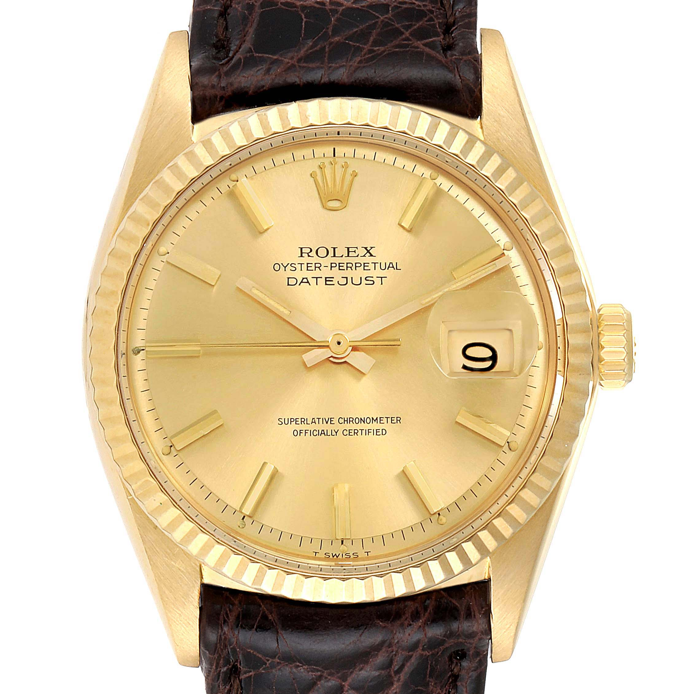 Rolex Datejust 18K Yellow Gold Brown Strap Vintage Mens Watch 1601