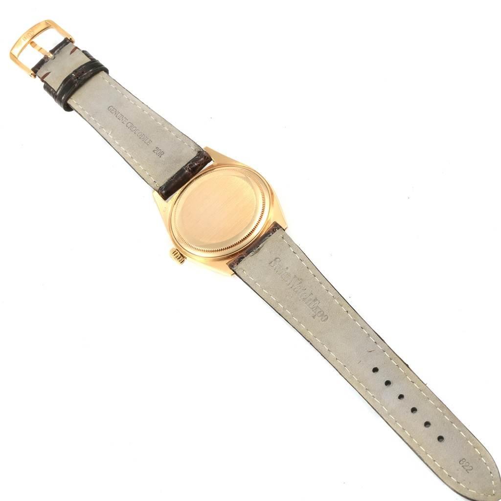 20828 Rolex Datejust 18K Yellow Gold Brown Strap Vintage Mens Watch 1601 SwissWatchExpo
