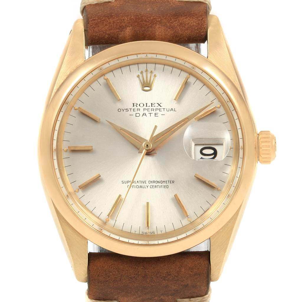 21178 Rolex Date 18K Yellow Gold Brown Strap Vintage Mens Watch 1500 SwissWatchExpo