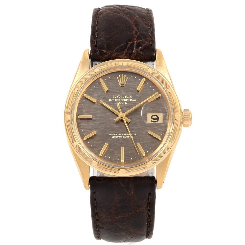 20862 Rolex Date Vintage 14K Yellow Gold Brick Dial Mens Watch 1501 SwissWatchExpo