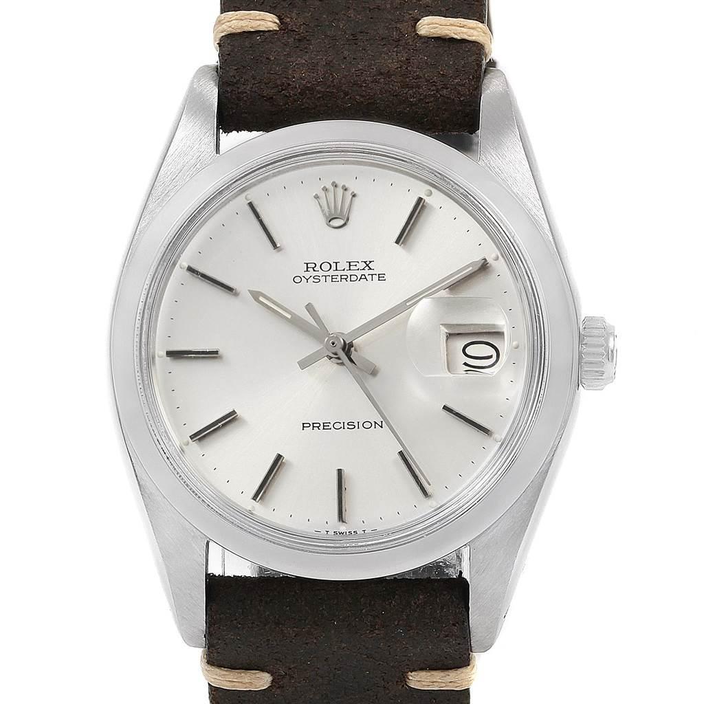 20760 Rolex OysterDate Precision Silver Dial Steel Vintage Mens Watch 6694 SwissWatchExpo