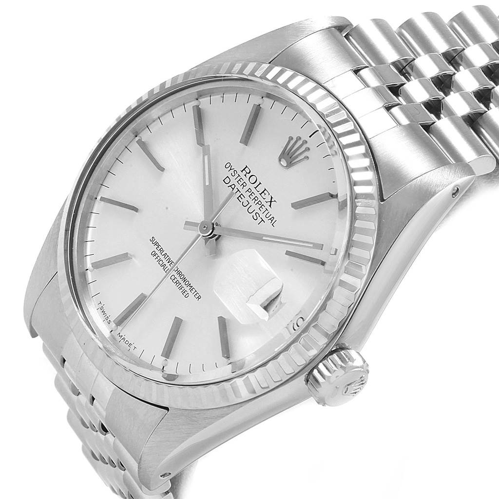 20770 Rolex Datejust Vintage Steel White Gold Silver Dial Mens Watch 16014 SwissWatchExpo