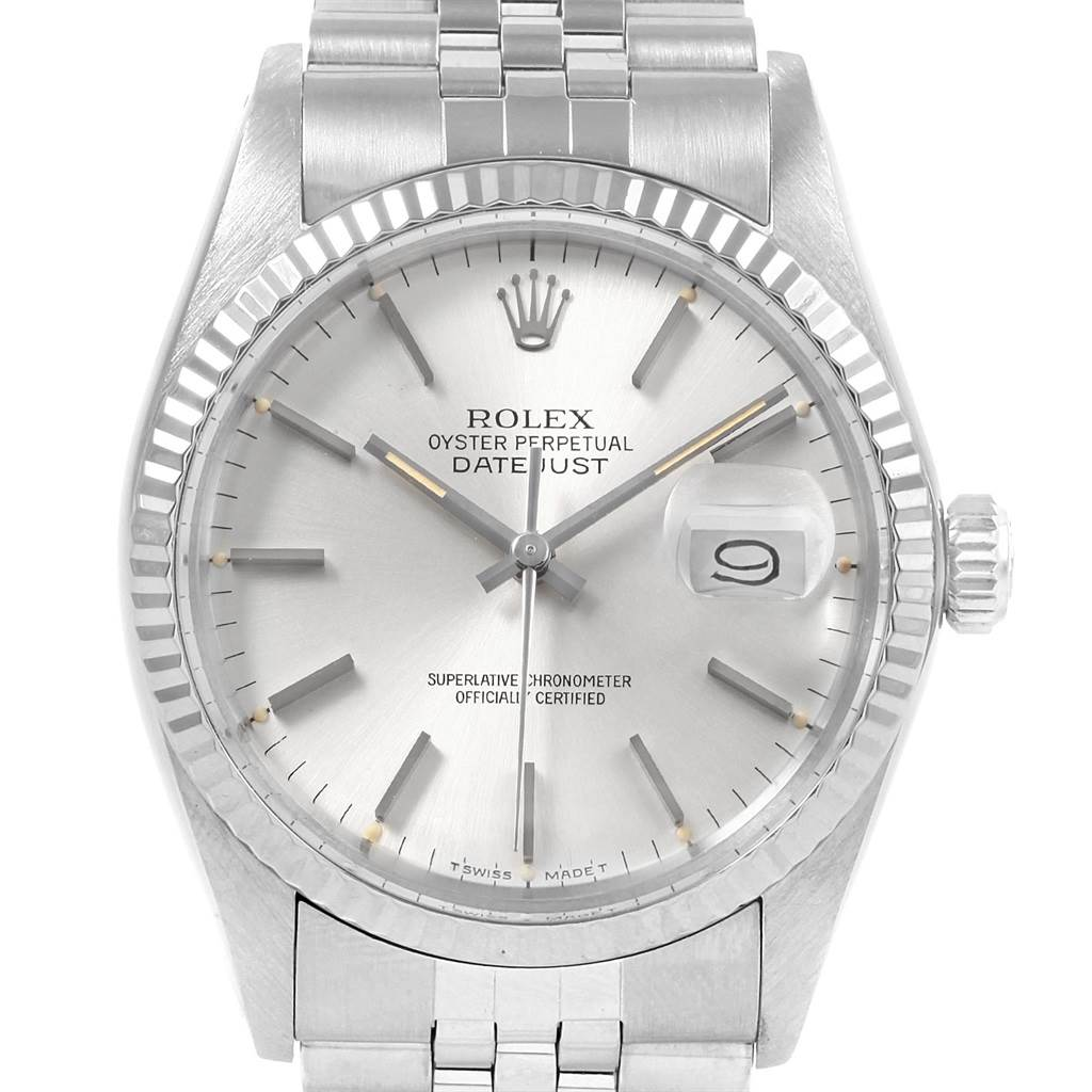 20770 Rolex Datejust Vintage Steel White Gold Silver Dial Mens Watch 16014 SwissWatchExpo