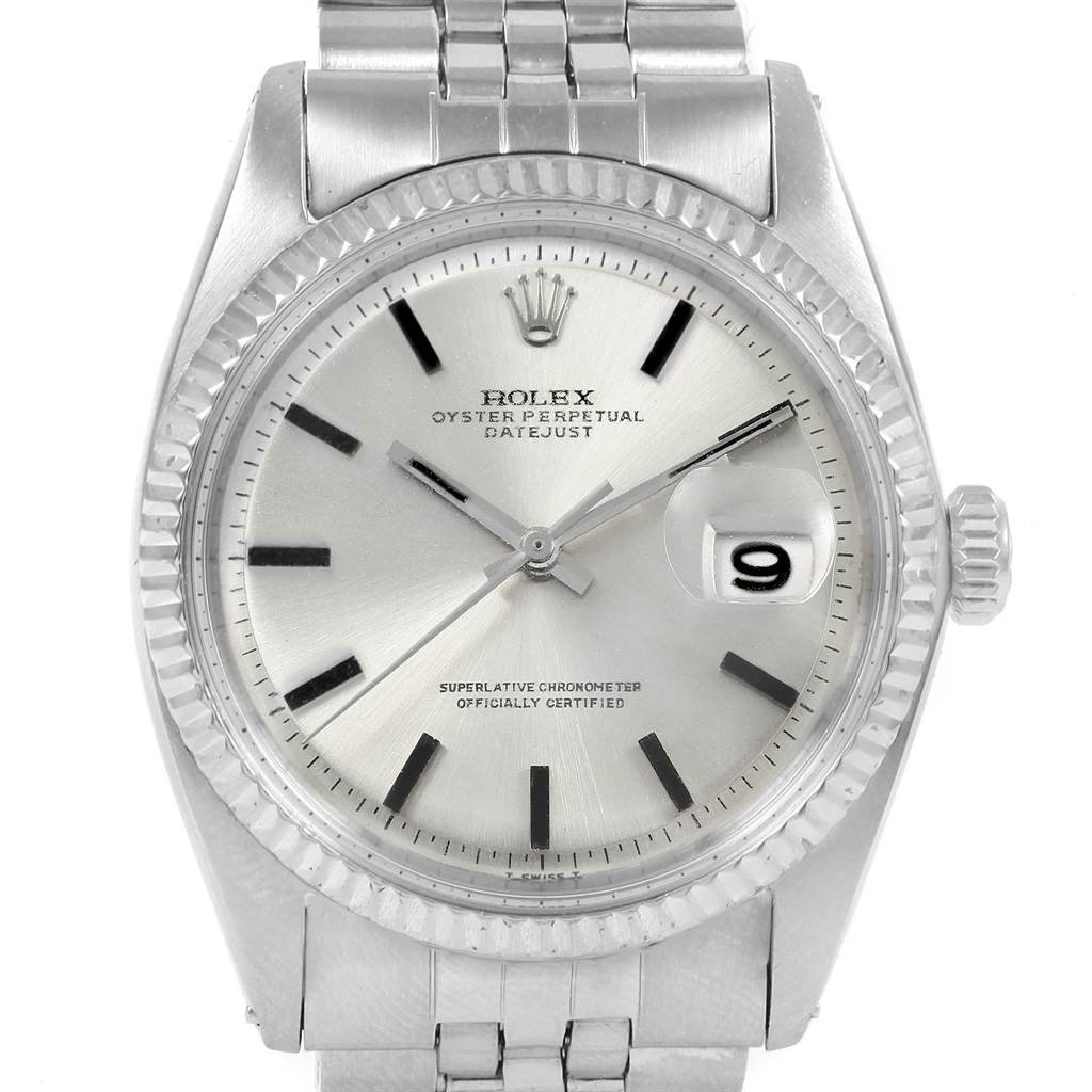 20463 Rolex Datejust Steel White Gold Silver Dial Vintage Mens Watch 1601 SwissWatchExpo