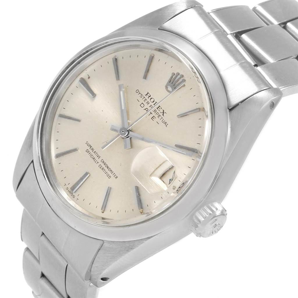21055 Rolex Date Silver Dial Automatic Steel Vintage Mens Watch 1500 SwissWatchExpo