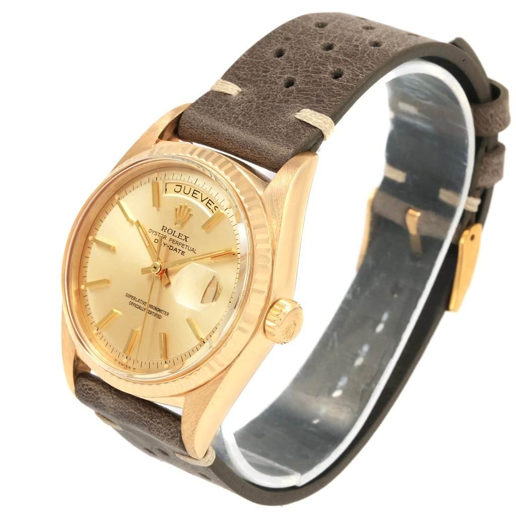 21060 Rolex President Day-Date 18k Yellow Gold Brown Strap Mens Watch 1803 SwissWatchExpo