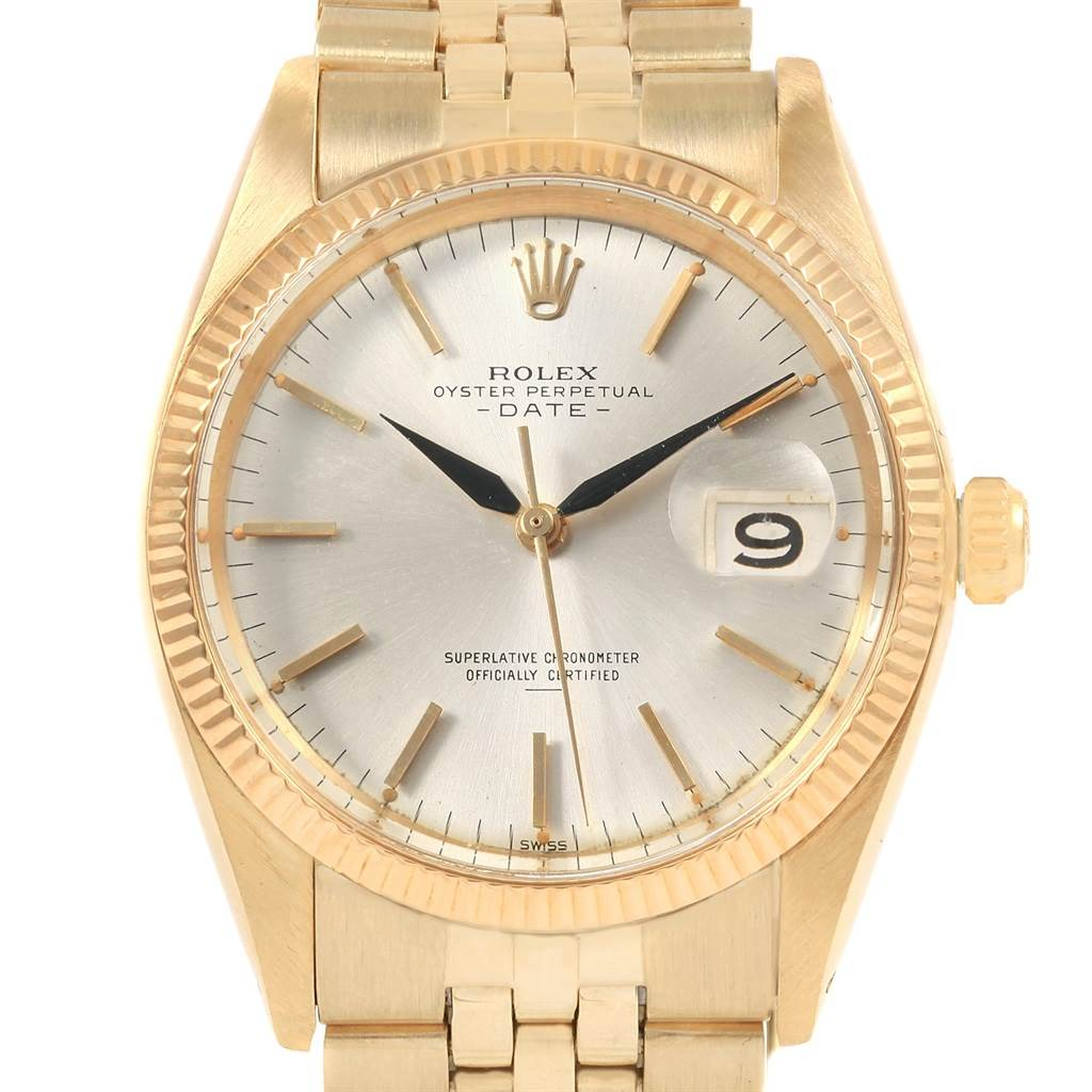 20863 Rolex Date 14k Yellow Gold Silver Dial Vintage Mens Watch 1500 SwissWatchExpo
