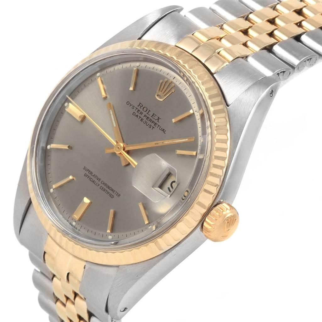 21225 Rolex Datejust Steel Yellow Gold Grey Dial Vintage Mens Watch 1601 SwissWatchExpo