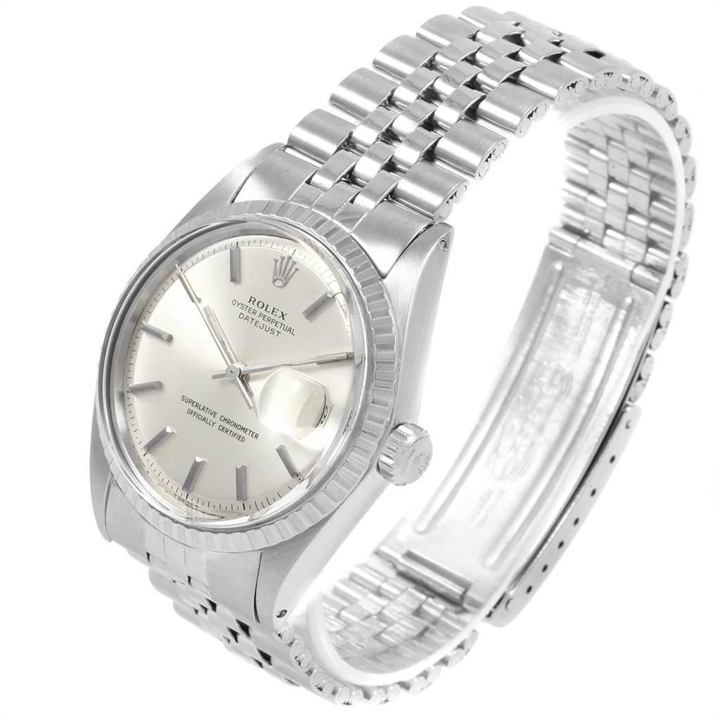 20796 Rolex Datejust Silver Dial Fluted Bezel Vintage Mens Watch 1603 SwissWatchExpo